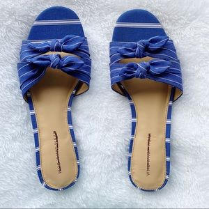 Who What Wear Blue Striped Fabric Sandals